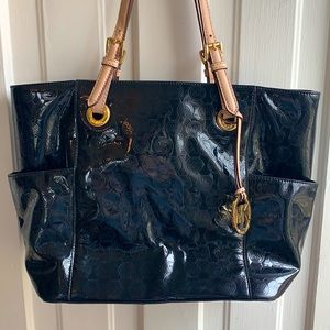 Michael Kors Black and Cream Patent Leather Tote